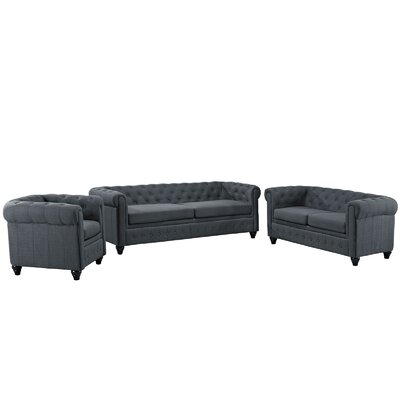 Earl 3 Piece Fabric Living Room Set Upholstery: Gray