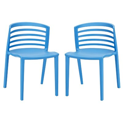 Predmore Plastic Side Chair Upholstery: Blue