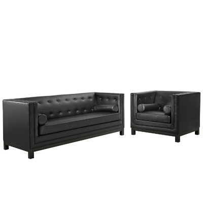 Imperial 2 Piece Living Room Set Upholstery: Black