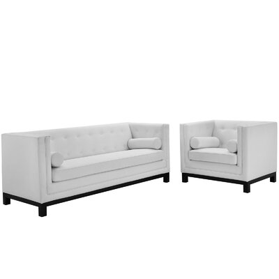 Imperial 2 Piece Living Room Set Upholstery: White