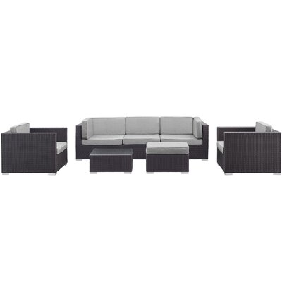 Convene 7 Piece Patio Sectional Set Finish: Gray