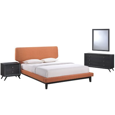 Bethany Platform 4 Piece Bedroom Set Color: Orange