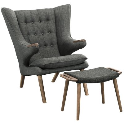 Bear Lounge Chair and Ottoman Set Upholstery: Gray