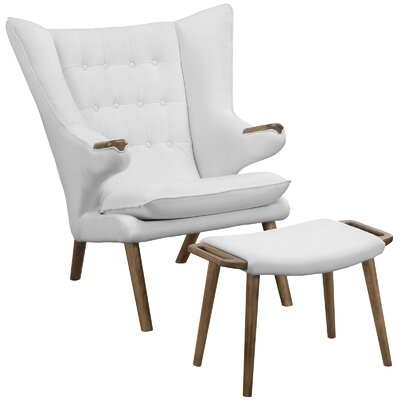 Bear Lounge Chair and Ottoman Set Upholstery: White