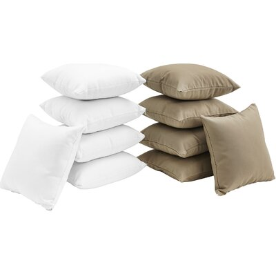 Convene 10 Piece Outdoor Throw Pillow Set Color: White/Mocha