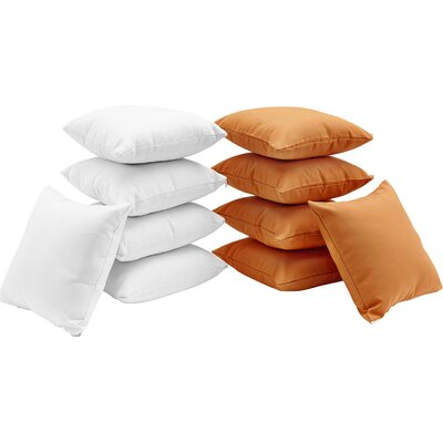 Convene 10 Piece Outdoor Throw Pillow Set Color: White/Orange