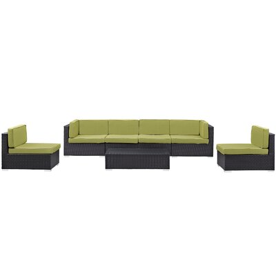 Ryele Outdoor Patio Sectional 7 Piece Seating Group with Cushion