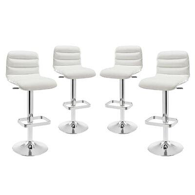 Ripple Adjustable Height Swivel Bar Stool Upholstery: White