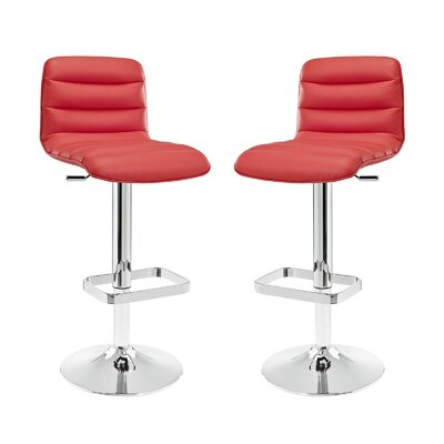 Kizzy Contemporary Adjustable Height Swivel Bar Stool Upholstery: Red
