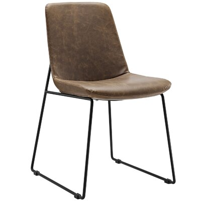 Invite Dining Vinyl Side Chair Upholstery: Brown