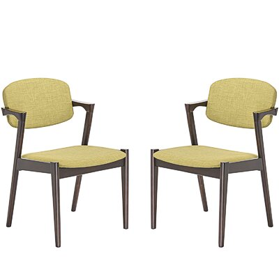 Spunk Dining Arm Chair Upholstery: Green