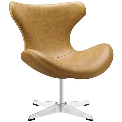 Helm Vinyl Lounge Chair Color: Tan