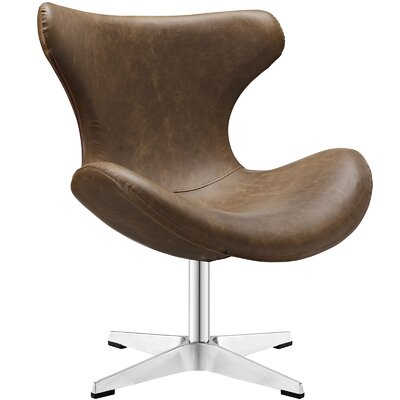 Helm Vinyl Lounge Chair Color: Brown