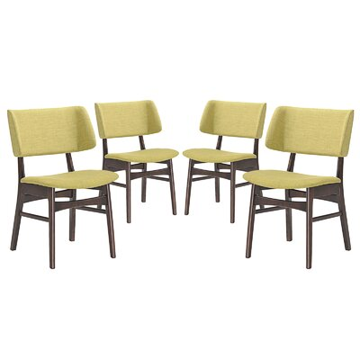 Vestige Dining Side Chair Upholstery: Green