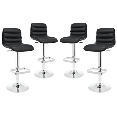 Kizzy Adjustable Height Swivel Bar Stool Upholstery: Black