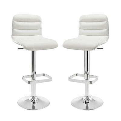 Ripple Adjustable Height Swivel Bar Stool Upholstery: White