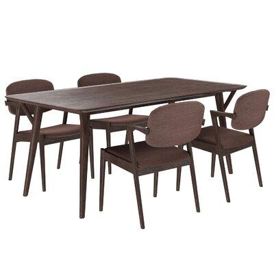 Mid-Century 5 Piece Dining Set Upholstery: Mocha