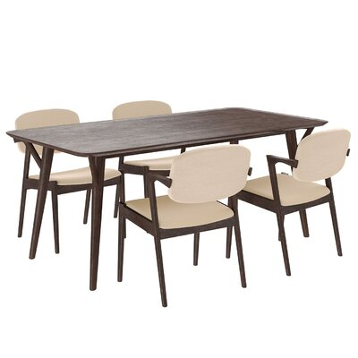 Mid-Century 5 Piece Dining Set Upholstery: Beige
