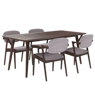 Mid-Century 5 Piece Dining Set Upholstery: Gray