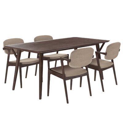Mid-Century 5 Piece Dining Set Upholstery: Latte