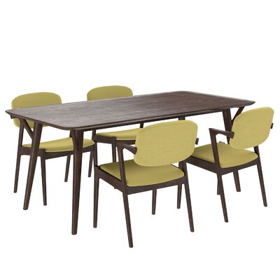 Mid-Century 5 Piece Dining Set Upholstery: Green