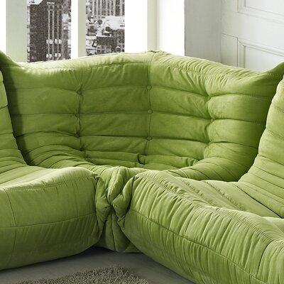 Waverunner Corner Loveseat Upholstery: Green