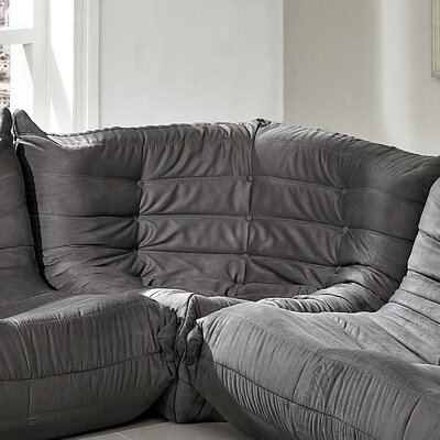 Waverunner Corner Loveseat Upholstery: Light Gray