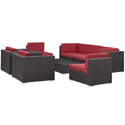 Ryele Contemporary 8 Piece Outdoor Patio Sectional Set with Cushion Fabric: Red