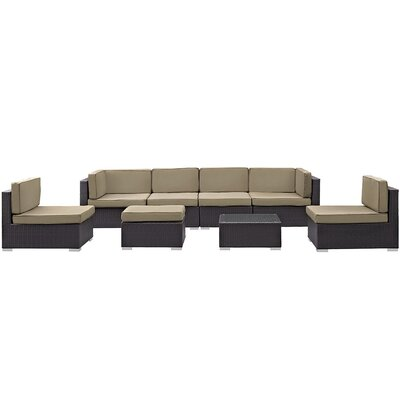 Ryele 8 Piece Outdoor Patio Sectional Set with Cushion Fabric: Mocha