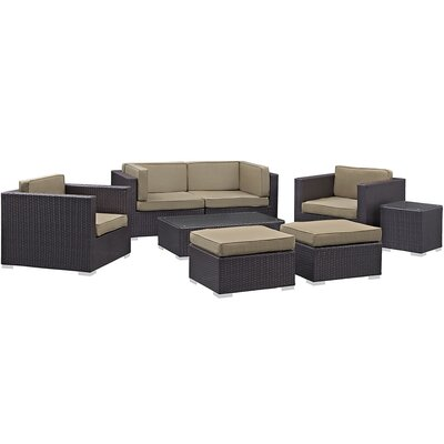 Ryele 8 Piece Metal Frame Outdoor Patio Sectional Set with Cushion Fabric: Mocha