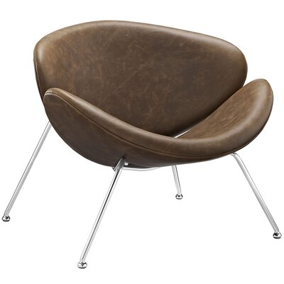 Nutshell Lounge Chair with Cushion Upholstery: Brown