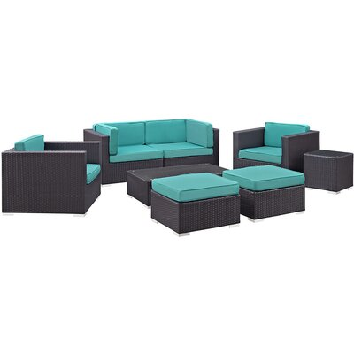 Ryele 8 Piece Metal Frame Outdoor Patio Sectional Set with Cushion Fabric: Turquoise