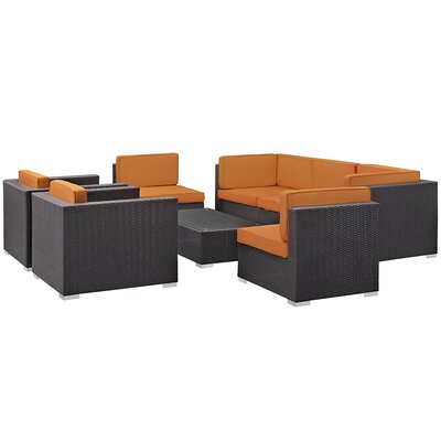 Ryele Contemporary 8 Piece Outdoor Patio Sectional Set with Cushion Fabric: Orange