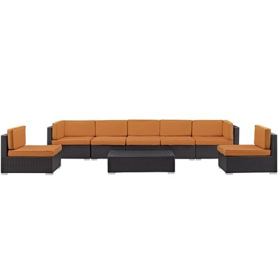 Ryele 8 Piece Rattan Outdoor Patio Sectional Set with Cushion Fabric: Orange