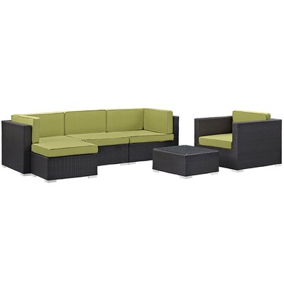 Ryele 6 Piece Outdoor Patio Sectional Deep Seating Group with Cushion Fabric: Peridot