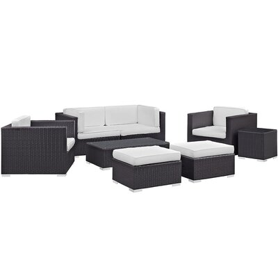 Ryele 8 Piece Metal Frame Outdoor Patio Sectional Set with Cushion Fabric: White