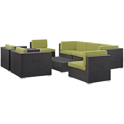 Ryele Contemporary 8 Piece Outdoor Patio Sectional Set with Cushion Fabric: Peridot