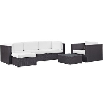 Ryele 6 Piece Outdoor Patio Sectional Deep Seating Group with Cushion Fabric: White
