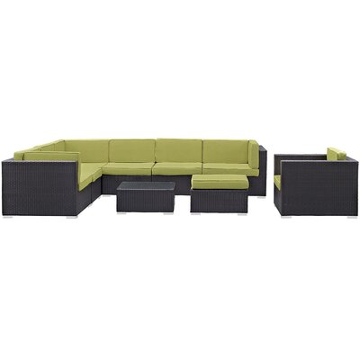 Convene 9 Piece Outdoor Patio Sectional Deep Seating Group with Cushion Fabric: Peridot