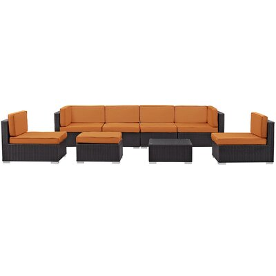 Ryele 8 Piece Outdoor Patio Sectional Set with Cushion Fabric: Orange