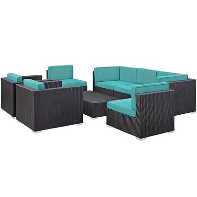 Convene 8 Piece Outdoor Patio Sectional Set with Cushion Fabric: Turquoise