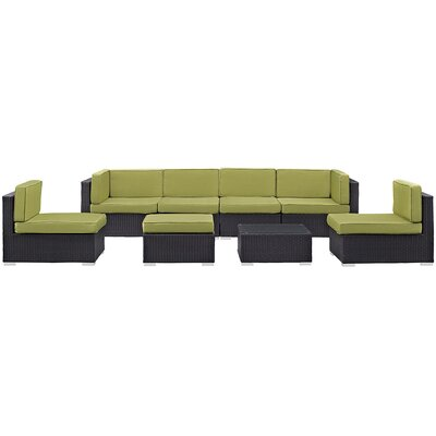 Ryele 8 Piece Outdoor Patio Sectional Set with Cushion Fabric: Peridot