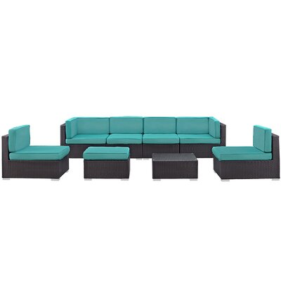 Ryele 8 Piece Outdoor Patio Sectional Set with Cushion Fabric: Turquoise