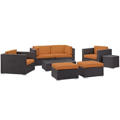 Convene 8 Piece Outdoor Patio Sectional Set with Cushion Fabric: Orange