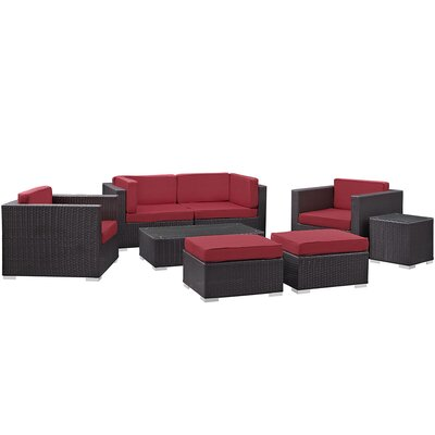 Ryele 8 Piece Metal Frame Outdoor Patio Sectional Set with Cushion Fabric: Red