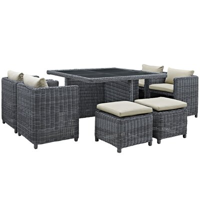 Summon 9 Piece Outdoor Patio Dining Set with Cushions Finish: Beige