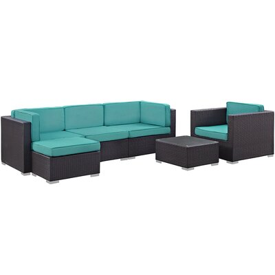 Convene 6 Piece Outdoor Patio Sectional Deep Seating Group with Cushion Fabric: Turquoise