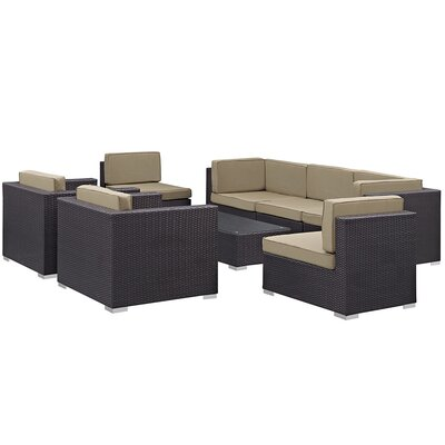 Ryele Contemporary 8 Piece Outdoor Patio Sectional Set with Cushion Fabric: Mocha