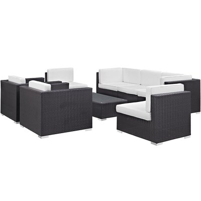 Convene 8 Piece Outdoor Patio Sectional Set with Cushion Fabric: White