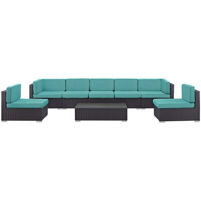 Ryele 8 Piece Rattan Outdoor Patio Sectional Set with Cushion Fabric: Turquoise